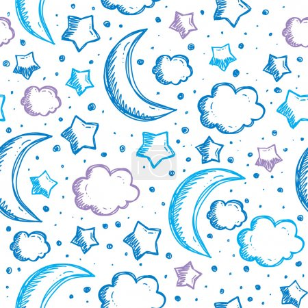 Illustration for Pattern with night sky, hand drawn vector illustration - Royalty Free Image