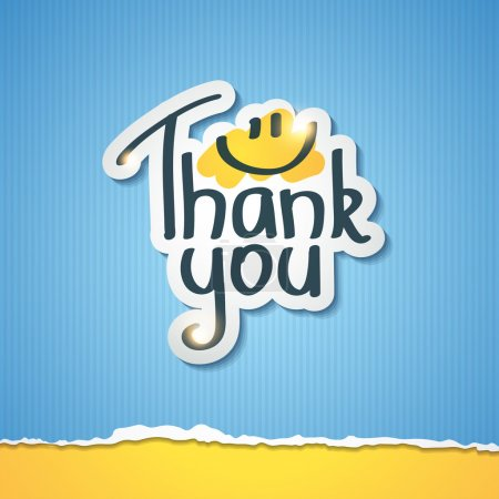 Illustration for Thank You inscription on paper sticker, vector illustration - Royalty Free Image