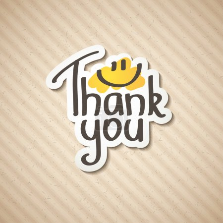 Illustration for Thank You text on paper sticker, vector illustration - Royalty Free Image