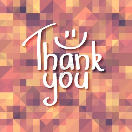 Illustration for Vector handwritten text, thank you, on geometric background - Royalty Free Image