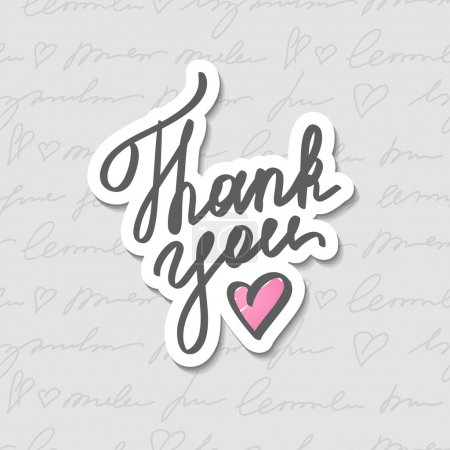 Illustration for Thank you, vector handwritten text with heart - Royalty Free Image