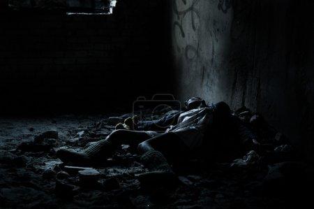 Dead woman lying in the basement