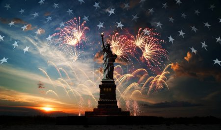 Photo for Statue of Liberty on the background of flag usa, sunrise and fireworks - Royalty Free Image