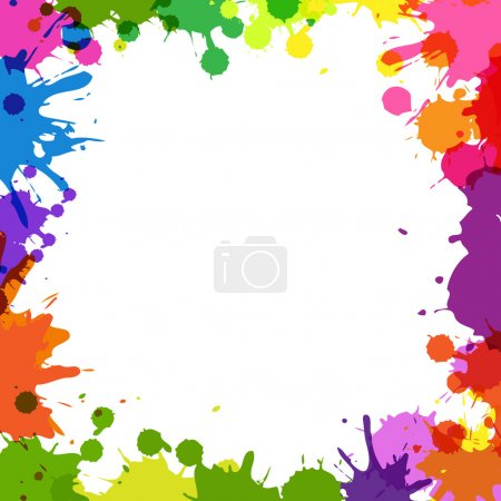 Illustration for Frame With Color Blobs, Isolated On White Background, Vector Illustration - Royalty Free Image