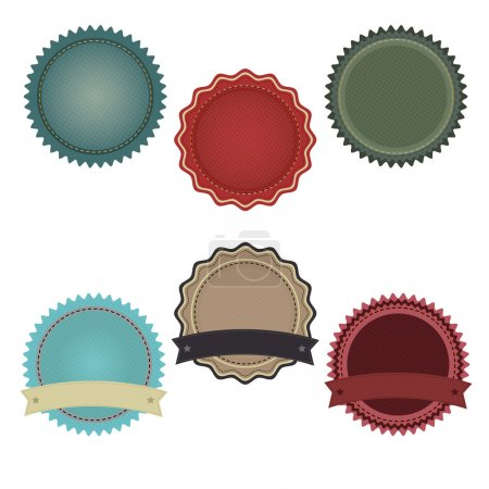 Illustration for 6 Promo Badges With Gradient Mesh, Isolated On White Background, Vector Illustration - Royalty Free Image