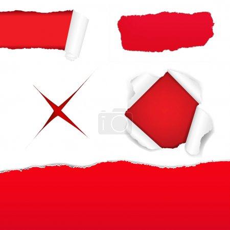 Illustration for Big Red Torn Paper Set With Gradient Mesh, Vector Illustration - Royalty Free Image