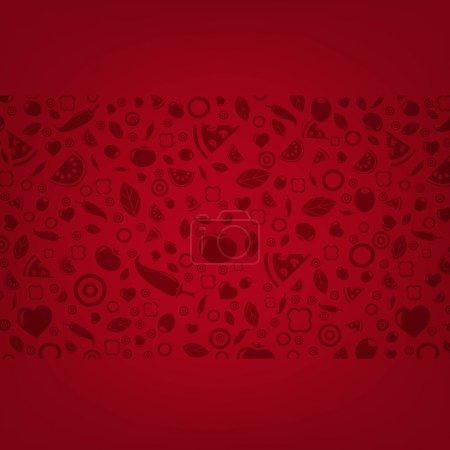 Illustration pour Fond rouge foncé avec des icônes alimentaires avec maille dégradée, Illustration vectorielle - image libre de droit