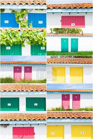 Collage aus farbigem Fischerhaus