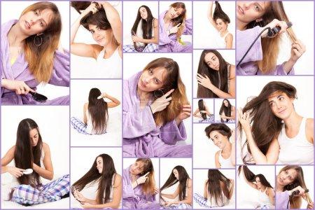 Photo pour Femmes et leur cheveux longs naturels. - image libre de droit