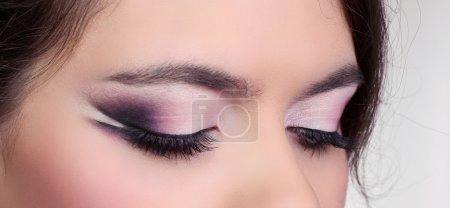 Close up of eyeshadow. Eyes Makeup. Make-up. Eyes shadows.