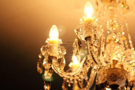 Vintage crystal lamp details, candle light...