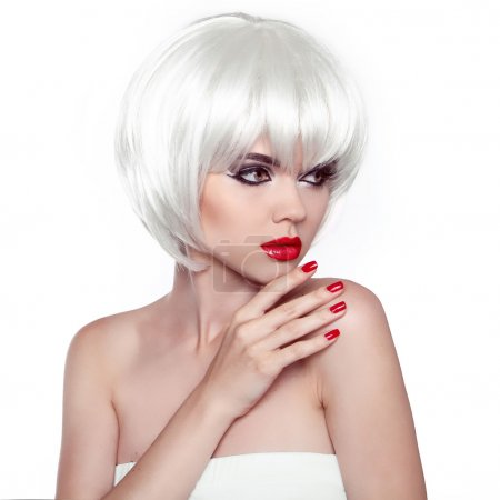 Red lips and manicured nails. Fashion Stylish Beauty Woman Portr