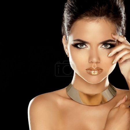 Fashion Beauty Girl Isolated on Black Background. Makeup. Golden