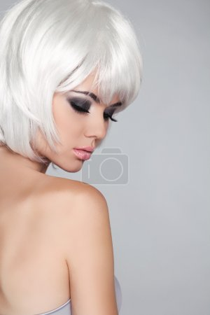 Fashion Beauty Portrait Woman. White Short Hair. Isolated on Gre