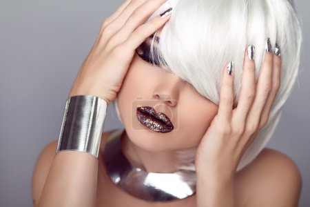 Photo for Sexy Lips. Beauty Girl. Fashion Haircut. Hairstyle. Stylish Fringe. Blond Short Hair Style - Royalty Free Image