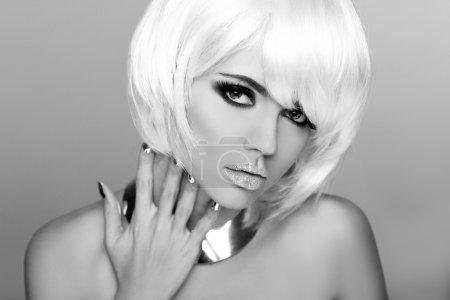 Fashion Beauty Portrait Woman. White Short Hair. Black and White