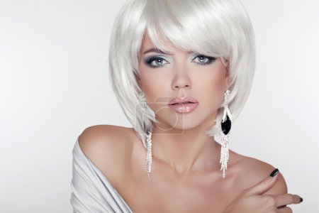 Beauty Girl Portrait with Makeup and White Short Hair showing E