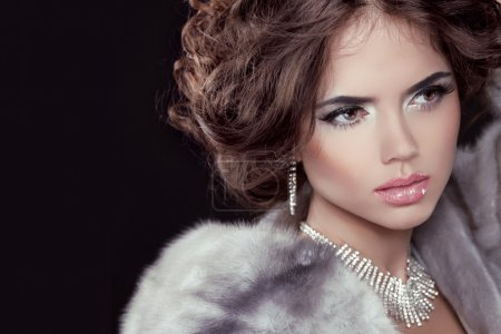 Model with long wavy hair in Luxury Mink Fur Coat