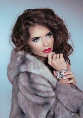 Beauty Fashion Model Girl in Mink Fur Coat. Beautiful Luxury Win