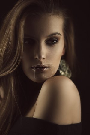Photo for Art portrait of gorgeous brunette. Shallow depth of field - Royalty Free Image