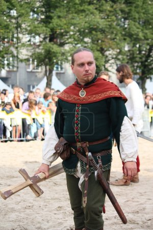 RIGA, LATVIA - AUGUST 21: Unidentified man in medieval costume f