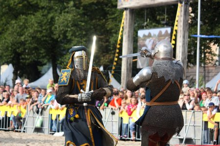 RIGA, LATVIA - AUGUST 21: Two knights from historical reconstruc