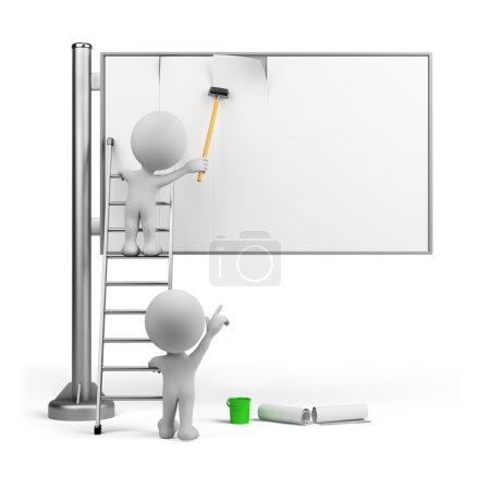 Photo pour Deux annonces de bâton. image 3D. fond blanc isolé - image libre de droit