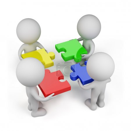 Photo pour 3d personne - équipe avec des puzzles multicolores. Fond blanc isolé . - image libre de droit