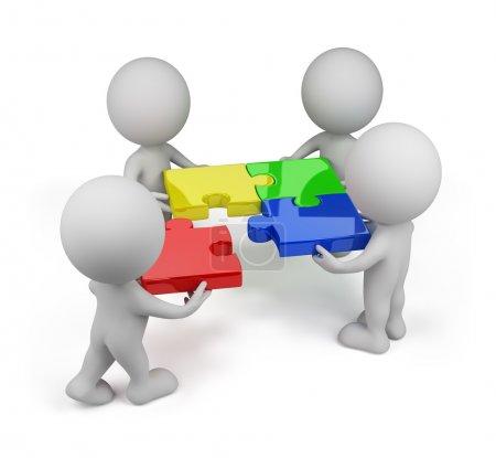 Photo pour 3d personne - équipe avec des puzzles multicolores. Image 3D. Fond blanc . - image libre de droit