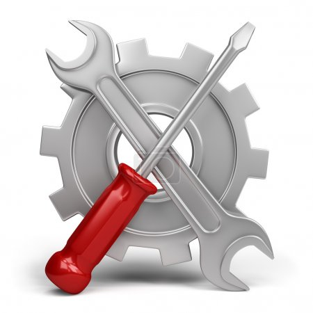 Photo for Wrench and screwdriver on a background of cogwheel. 3d image. White background. - Royalty Free Image
