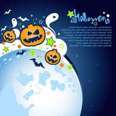 Sfondo festa di Halloween con una grande luna, fantasmi e zucche