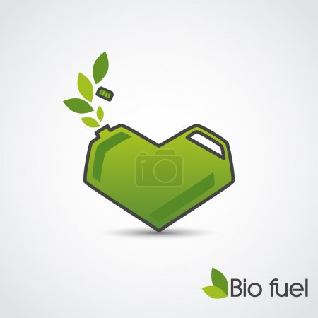 Bio fuel. Vector concept of green cans in the form of heart.