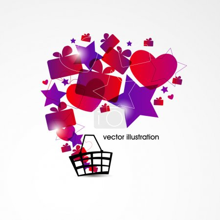 Vector holiday shopping background.