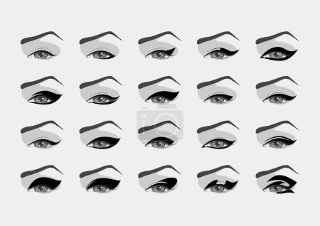 Vector female eyes with various eyeliner