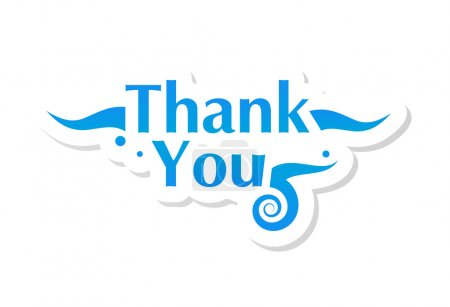 Illustration for Thank you graphic isolated on white. Vector illustration. - Royalty Free Image