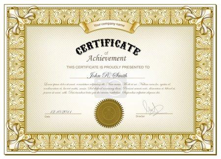 Illustration for Vector illustration of gold detailed certificate - Royalty Free Image