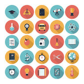 Modern flat icons vector collection with long shadow in stylish colors on high school and colledge education with teaching and learning symbol and object Isolated in colored circle on white background
