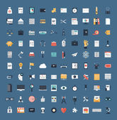 Flat icons design modern vector illustration big set of various financial service items web and technology development business management symbol marketing items and office equipment Isolated on simple background
