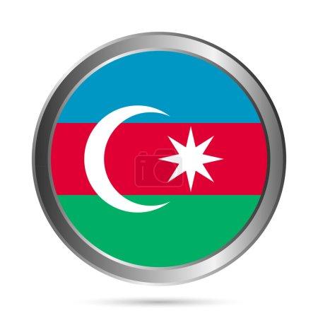 Azerbaijan flag button. The colors of original.