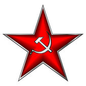 Communist red star with hammer and sickle on white