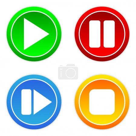 Illustration pour Jouer, pause, stop, boutons vers l'avant, sur fond blanc. - image libre de droit