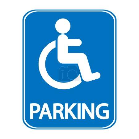 Foto de Cartel de estacionamiento para discapacitados sobre fondo blanco - Imagen libre de derechos
