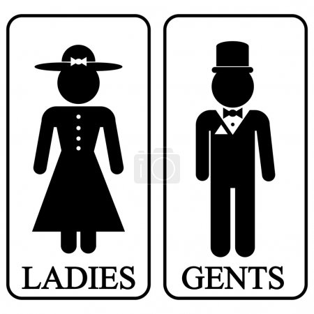Illustration for Icons of men and women in retro style. Vector illustration. - Royalty Free Image