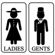 Icons of men and women in retro style. Vector illu...
