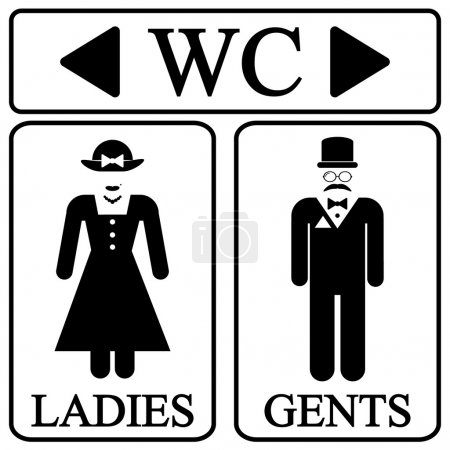 Illustration for Male and female restroom symbol icons in retro style. Vector illustration. - Royalty Free Image