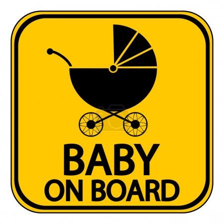 Illustration pour Panneau bébé à bord sur fond blanc. Illustration vectorielle . - image libre de droit