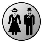 Tlačítko symbol mužské a ženské toaletě