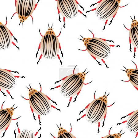 Illustration for Colorado potato beetles seamless pattern. Vector illustration. - Royalty Free Image