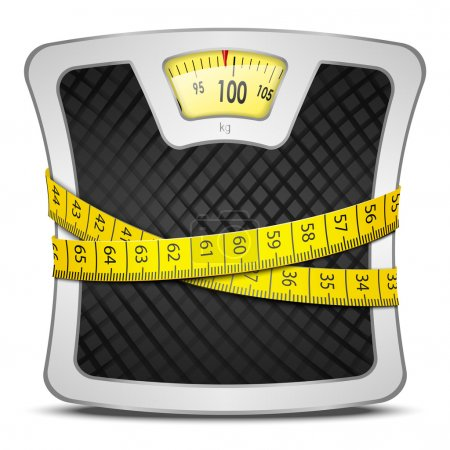 Illustration for Measuring tape wrapped around bathroom scales. Concept of weight loss, diet, healthy lifestyle. Vector illustration EPS10. - Royalty Free Image
