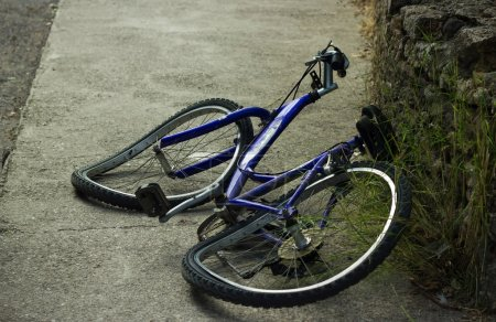 Deformated bicycle after accident